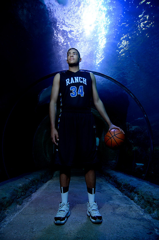 . DENVER, CO - APRIL 02: Highlands Ranch\'s Zach Braxton poses for a portrait. All-state boys and girls basketball portraits at the Downtown Aquarium on Wednesday, April 2, 2014. (Photo by AAron Ontiveroz/The Denver Post)