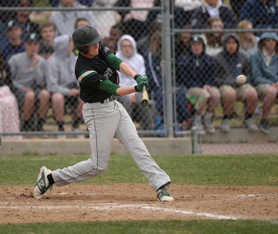 . Golden Eagles batter Michael Dunnebecke (10) drove in three runs with a triple in the sixth inning. The Mountain Vista High School baseball team blanked ThunderRidge 3-0 Wednesday afternoon, April 16, 2014. (Photo by Karl Gehring/The Denver Post)