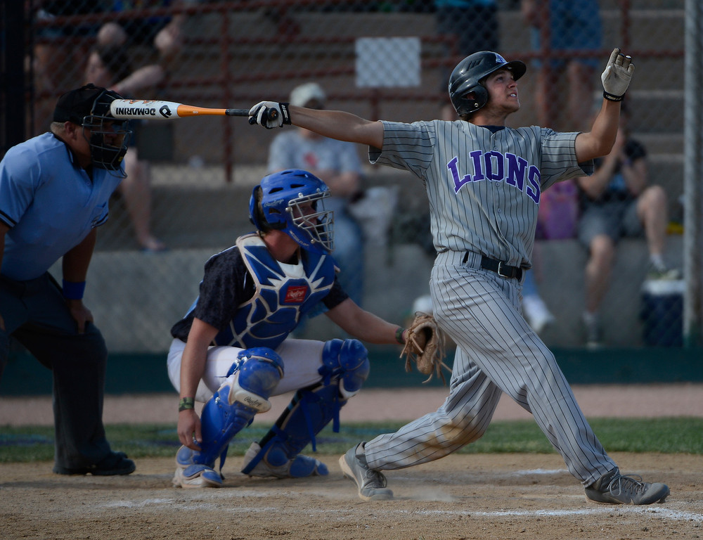 . DENVER, CO - MAY 25:  Hunter Porterfield, Mountain View Mt. Lions, hits a double in the 8th inning to drive in what turned out to be the winning run scored by teammate, Adam Baumann, to win the 2013 4A Colorado State Championship 7-6 against Pueblo West Saturday May 25, 2013 at All City Stadium.  (Photo By Andy Cross/The Denver Post)