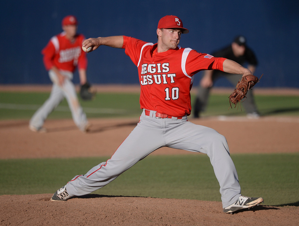 . Regis right-hander Justin Thaxton pitched in the ninth inning. The Regis Jesuit baseball team defeated Rock Canyon 10-1 Friday afternoon, April 11, 2014.  (Photo by Karl Gehring/The Denver Post)
