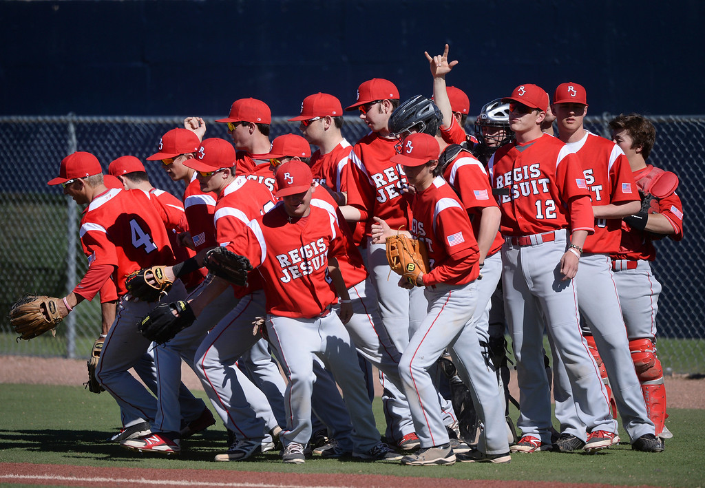 . The Raiders took the field Friday. The Regis Jesuit baseball team defeated Rock Canyon 10-1 Friday afternoon, April 11, 2014.  (Photo by Karl Gehring/The Denver Post)