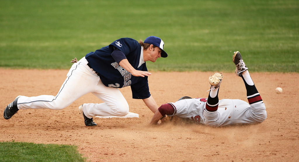 . Patrick Barder of Chatfield High School (25), right, successfully steals second base while Austin Anderson of Columbine High School (24) tries to put the tag on him during the game at Columbine High School.  Third-ranked Columbine defeated No. 1 Chatfield, 12-6. (Photo by Hyoung Chang/The Denver Post)
