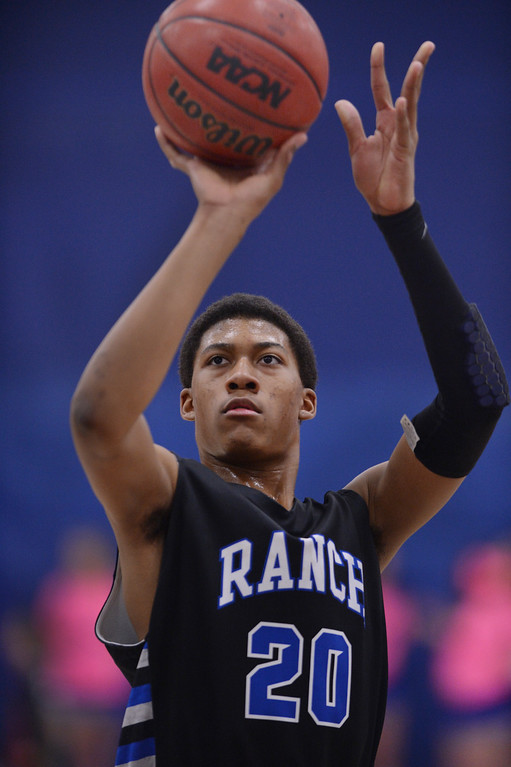. PARKER, CO. - FEBRUARY 14, 2014: Ranch forward Keith Coleman was at the line in the second half. The Highlands Ranch High School boy\'s basketball team defeated Legend 60-46 Friday night February 14, 2014.  Photo By Karl Gehring/The Denver Post
