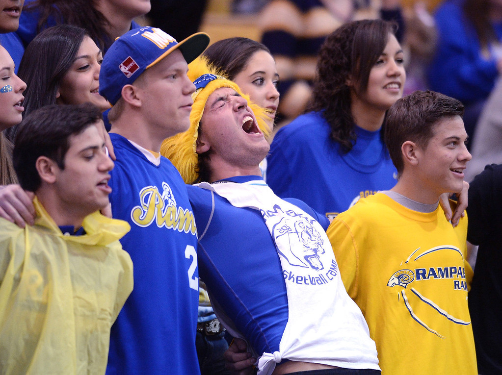 . Rampart fans showed their spirit Wednesday night. The Rampart High School boy\'s basketball team defeated Cherokee Trail 67-64 Wednesday night, February 26, 2014. Photo By Karl Gehring/The Denver Post