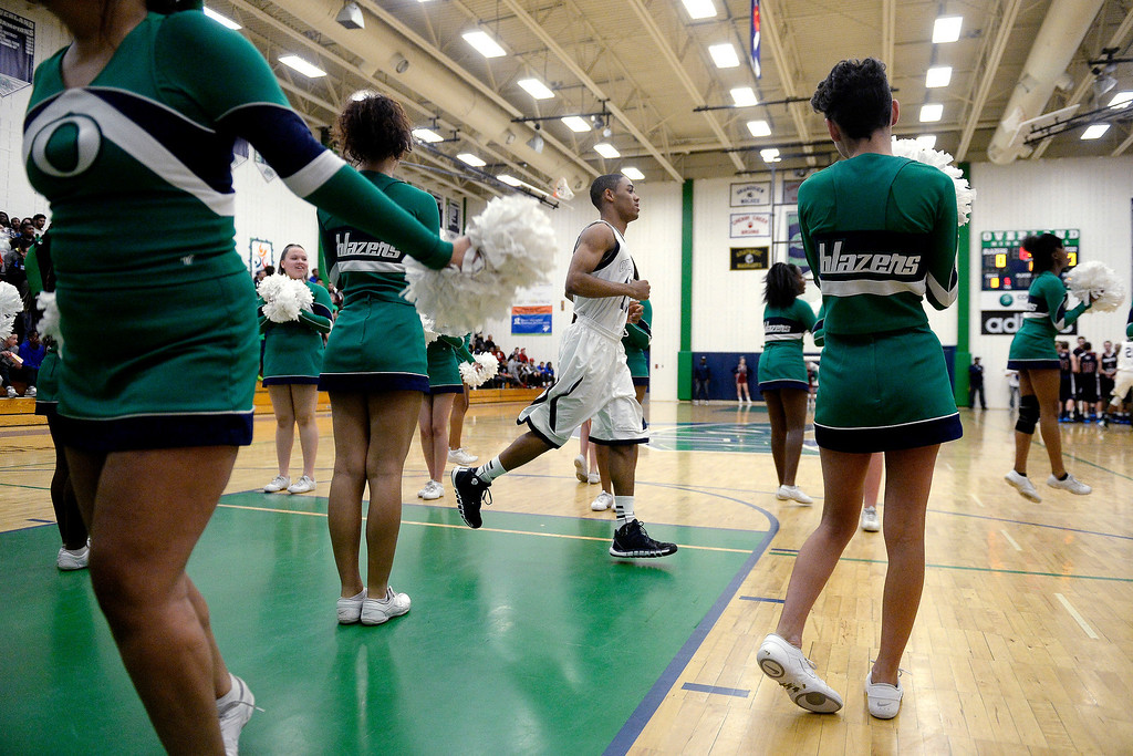 . Austin Conway (15) of the Overland Trailblazers is introduced during the first half. (Photo By AAron Ontiveroz/The Denver Post)
