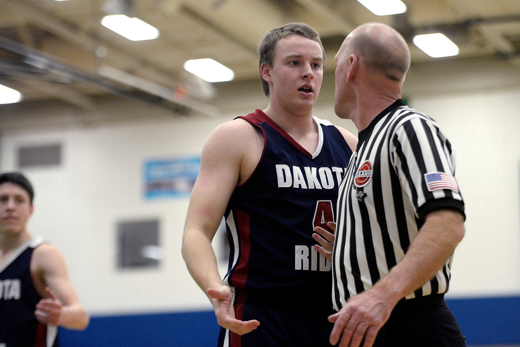 . Alden Erickson (4) of the Dakota Ridge Eagles questions the referee during the first half. (Photo By AAron Ontiveroz/The Denver Post)