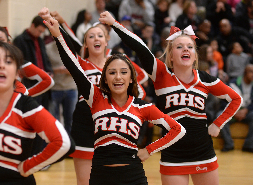 . AURORA, CO. - MARCH 5, 2014: Rangeview cheerleaders showed their pride. The Rangeview High School boy\'s basketball team hosted Chaparral Wednesday night, March 5, 2014. Photo By Karl Gehring/The Denver Post