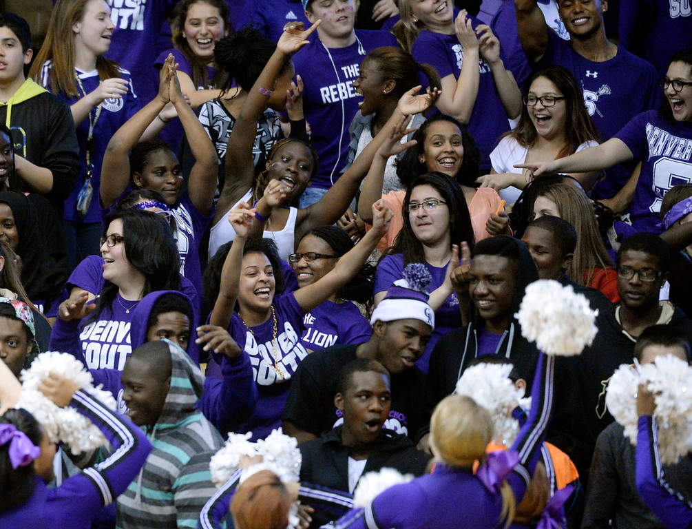 . BOULDER, CO - MARCH 14: The South student section showed some spirit in the second half. The Denver South High School boy\'s basketball team defeated Cheyenne Mountain 79-75 in overtime in a 4A semifinal game Friday night, March 14, 2014 in Boulder, Colorado. (Photo by Karl Gehring/The Denver Post)