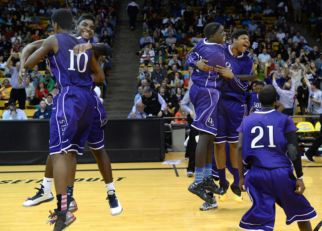. BOULDER, CO - MARCH 14:  The Denver South High School boy\'s basketball team defeated Cheyenne Mountain 79-75 in overtime in a 4A semifinal game Friday night, March 14, 2014 in Boulder, Colorado. (Photo by Karl Gehring/The Denver Post)
