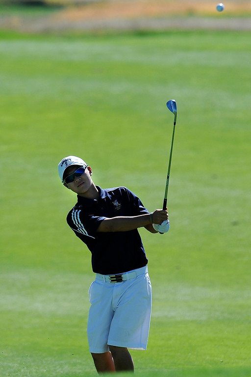 . AURORA, CO: Oct. 1, 2013  5A runner-up Li Chen takes a swing during the final round of the tournament.   (Photo By Erin Hull/The Denver Post)