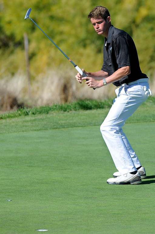 . AURORA, CO: Oct. 1, 2013  Donny Kinnaman reacts to a putt during the final round of the 5A state golf tournament at Murphy Creek Golf Course . Kinnaman finished the tournament three over.   (Photo By Erin Hull/The Denver Post)