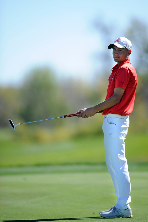 . AURORA, CO: Oct. 1, 2013  Jake Kelley of Regis Jesuit reacts to a missed shot. Kelley went three under for the day and tied for second in the tournament.   (Photo By Erin Hull/The Denver Post)