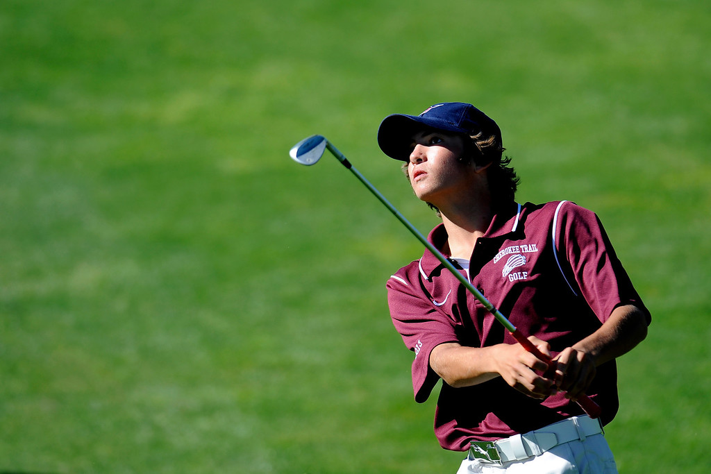 . AURORA, CO: Oct. 1, 2013  Bradley Scalia watches after his shot as he competes in the final round of the 5A state golf tournament at Murphy Creek Golf Course in Aurora, CO on Oct. 1, 2013.   (Photo By Erin Hull/The Denver Post)