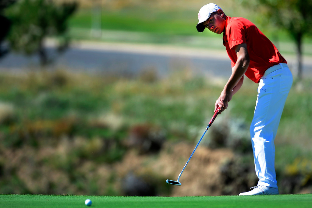 . AURORA, CO: Oct. 1, 2013  Jake Kelley takes a putt. Kelley shot three under for the day and finished second overall.   (Photo By Erin Hull/The Denver Post)