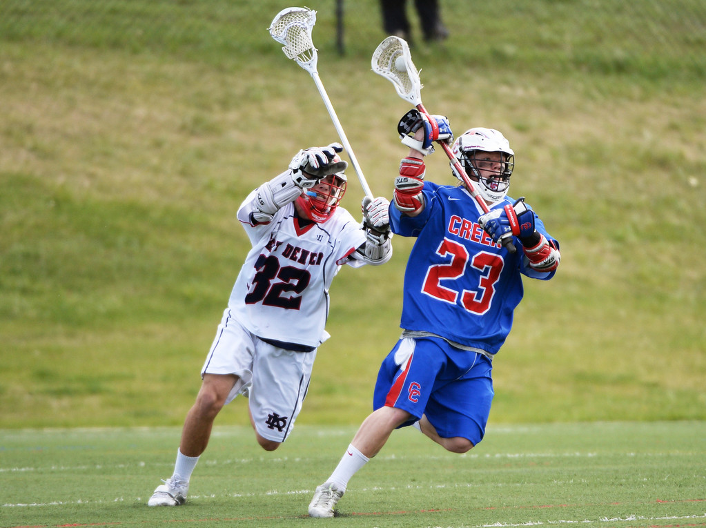 . ENGLEWOOD MAY 02: Jack Savage of Cherry Creek High School (23), right, controls the ball against Markus Bosick of Kent Denver High School (32). Englewood, Colorado May 2, 2014. (Photo by Hyoung Chang/The Denver Post)