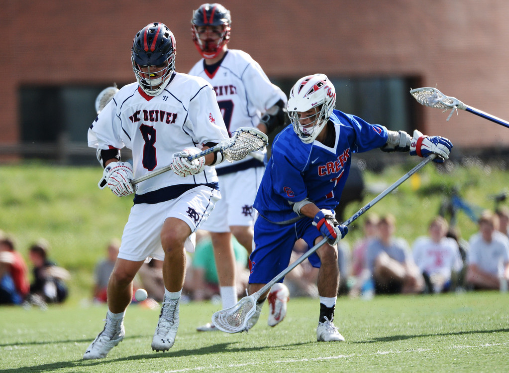 . ENGLEWOOD MAY 02: Zachary Yshioka of Cherry Creek High School (1), right, steals the ball from Brooks Benson of Kent Denver High School (8). Englewood, Colorado May 2, 2014. (Photo by Hyoung Chang/The Denver Post)
