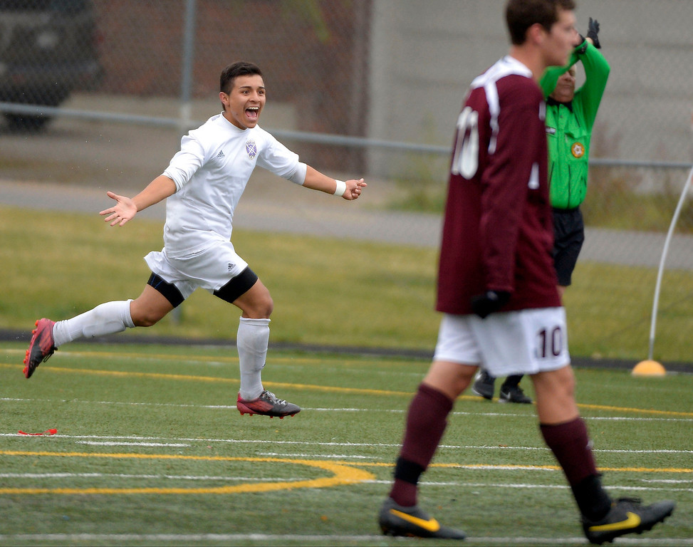 . North Danny Bautista (17) celebrates his goal late in the second half to put the Vikings up 1-0.  Denver North High soccer team takes the second round with a win over Golden Demons October 29, 2013 at North High. The goal was scored by Danny Bautista late in the second half. (Photo by John Leyba/The Denver Post)