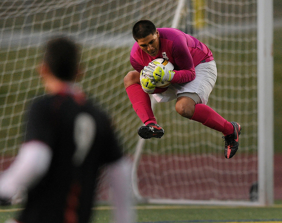 . Rangeview goalkeeper Edward Zuniga came out of the net to make a save in the second half.   Photo By Karl Gehring/The Denver Post