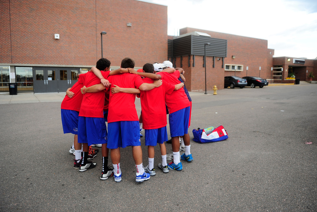 . Cherry Creek celebrates their win over Fairview on Tuesday, Sept. 3, 2013.   (Photo By Erin Hull/The Denver Post)