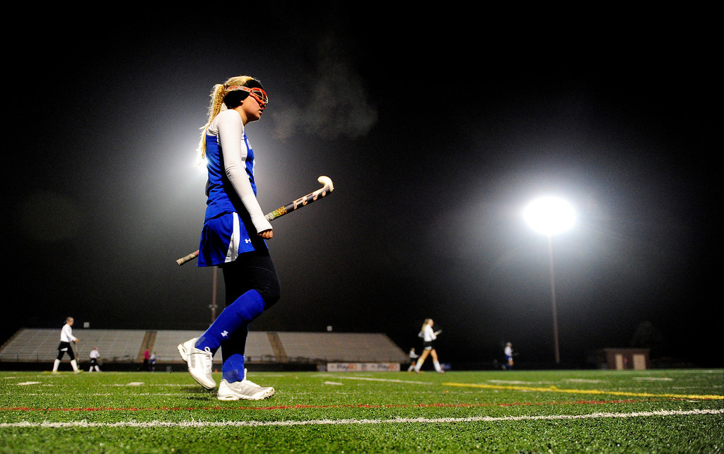 . Cherry Creek\'s Maddie Hantman walks the field against Colorado Academy during the CHSAA state field hockey championship. Colorado Academy (17-0) capped a perfect season at All-City Stadium. (Photo by AAron Ontiveroz/The Denver Post)