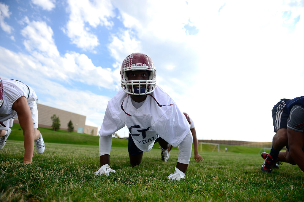 . Jacob Martin drills during the first day of practice. Cherokee Trail lost to Valor Christian in last year\'s 5A state title game. (Photo by AAron Ontiveroz/The Denver Post)