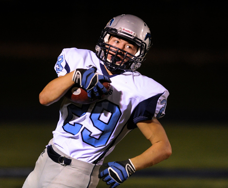 . DENVER, CO. - AUGUST 23: Ralston Valley running back Kyle Rush (29) put the final points on the board in a blowout Friday night. The Ralston Valley High School football team beat Mullen 43-0 Friday night, August 23, 2013. Photo By Karl Gehring/The Denver Post