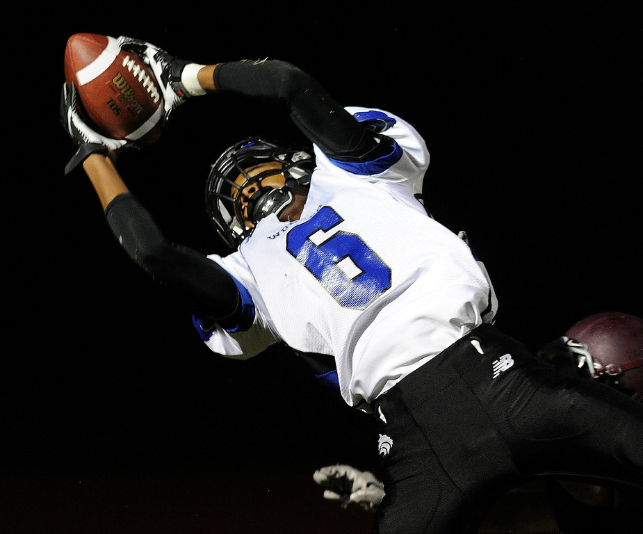 . Grandview senior wide receiver Isaiah Lang (6) beat a Horizon defender for a touchdown in the second quarter. The Horizon High School football team hosted Grandview Thursday night, August 29, 2013.  Photo By Karl Gehring/The Denver Post