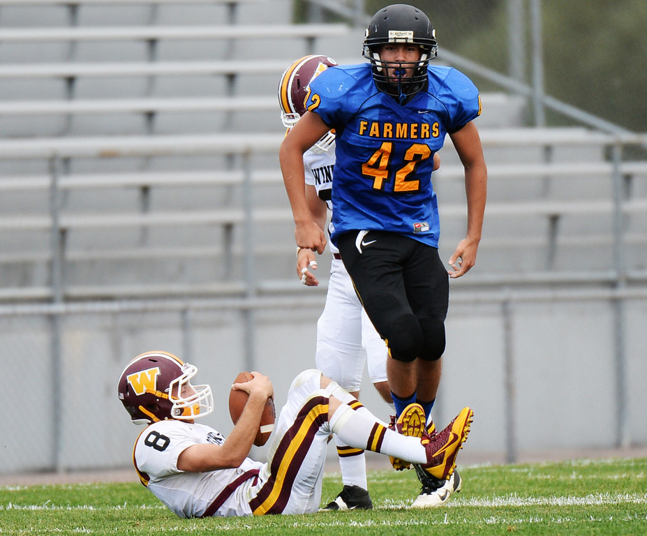 . LAKEWOOD, CO - August 30 : QB Blake Bunday of Windsor High School (8) is sacked by Xavier Drelling of Wheat Ridge High School (42) in the 1st half of the game at Jefferson County Stadium. Lakewood, Colorado. August 30, 2013. (Photo by Hyoung Chang/The Denver Post)