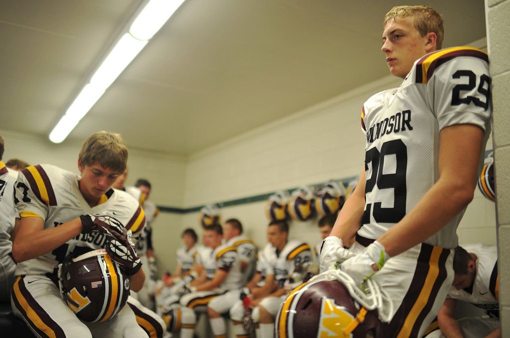 . LAKEWOOD, CO - August 30 : K.C. Scott of Windsor High School (29) and teammates are waiting for the kickoff against Wheat Ridge High School at Jefferson County Stadium. Lakewood, Colorado. August 30, 2013. (Photo by Hyoung Chang/The Denver Post)