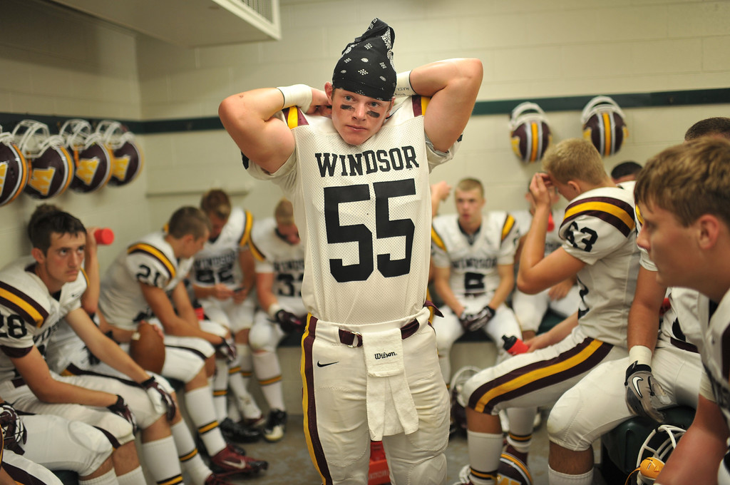 . LAKEWOOD, CO - August 30 : Jackson Cline of Windsor High School (55) is preparing for the game against Wheat Ridge High School at Jefferson County Stadium. Lakewood, Colorado. August 30, 2013. (Photo by Hyoung Chang/The Denver Post)
