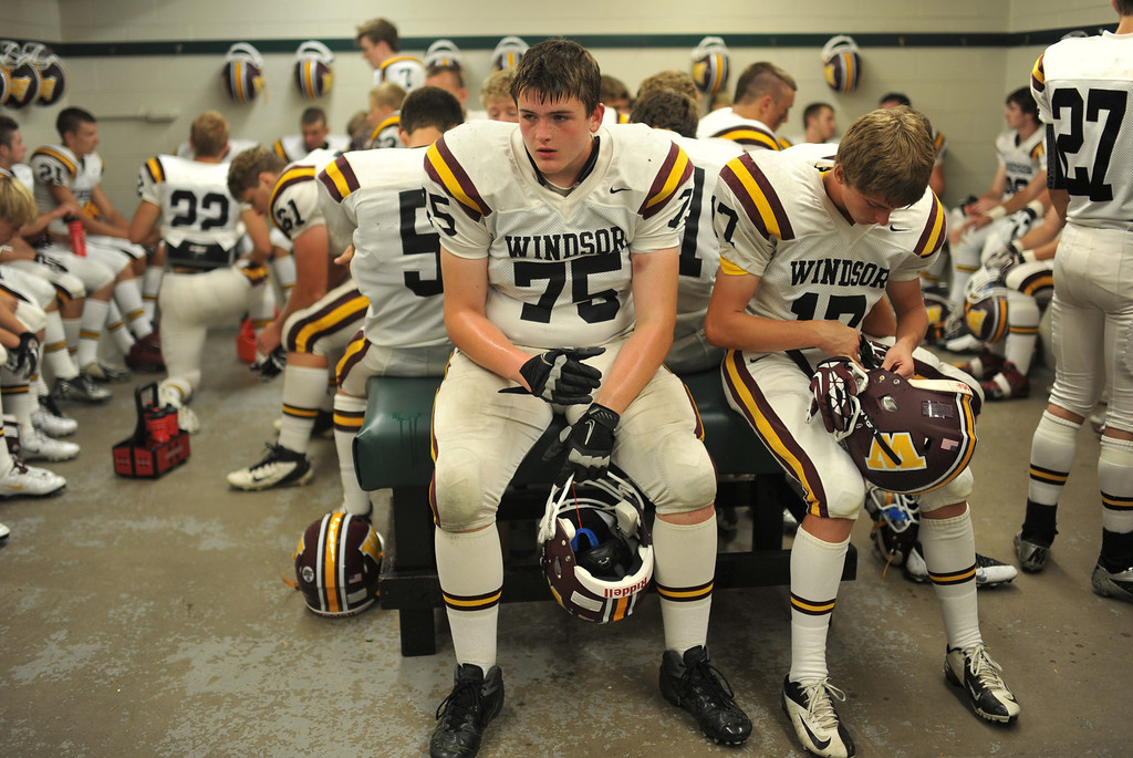 . LAKEWOOD, CO - August 30 : Barret Barker of Windsor High School (75) and teammates are waiting for the kickoff against Wheat Ridge High School at Jefferson County Stadium. Lakewood, Colorado. August 30, 2013. (Photo by Hyoung Chang/The Denver Post)