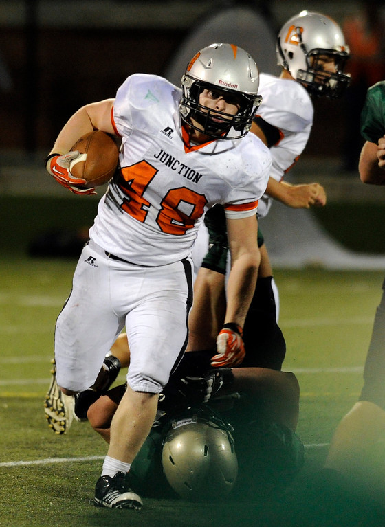 . HIGHLANDS RANCH, CO. - AUGUST 31:  Grand Junction running back Austin Lewis (48) picked up yards in the fourth quarter. The Grand Junction Tigers defeated Mountain Vista 49-13 at Shea Stadium Saturday night, August 31, 2013. Photo By Karl Gehring/The Denver Post