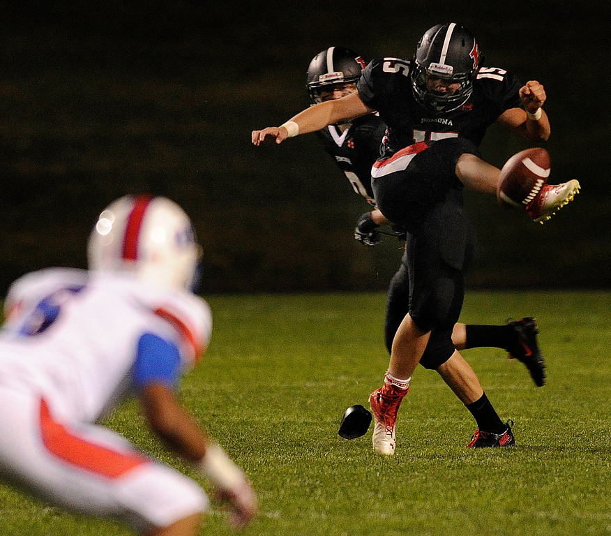 . ARVADA, CO. - SEPTEMBER 6: Pomona attempted an onside-kick in the fourth quarter but the Bruins recovered. The Cherry Creek High School football team defeated Pomona 19-15 Friday night, September 6, 2013. Photo By Karl Gehring/The Denver Post