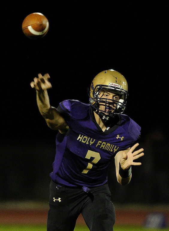 . BROOMFIELD, CO. - SEPTEMBER 20: Holy Family quarterback David Sommers (7) fired a pass in the second half. The Silver Creek High School football team defeated Holy Family 45-14 Friday night September 20, 2013 in Broomfield.  Photo By Karl Gehring/The Denver Post