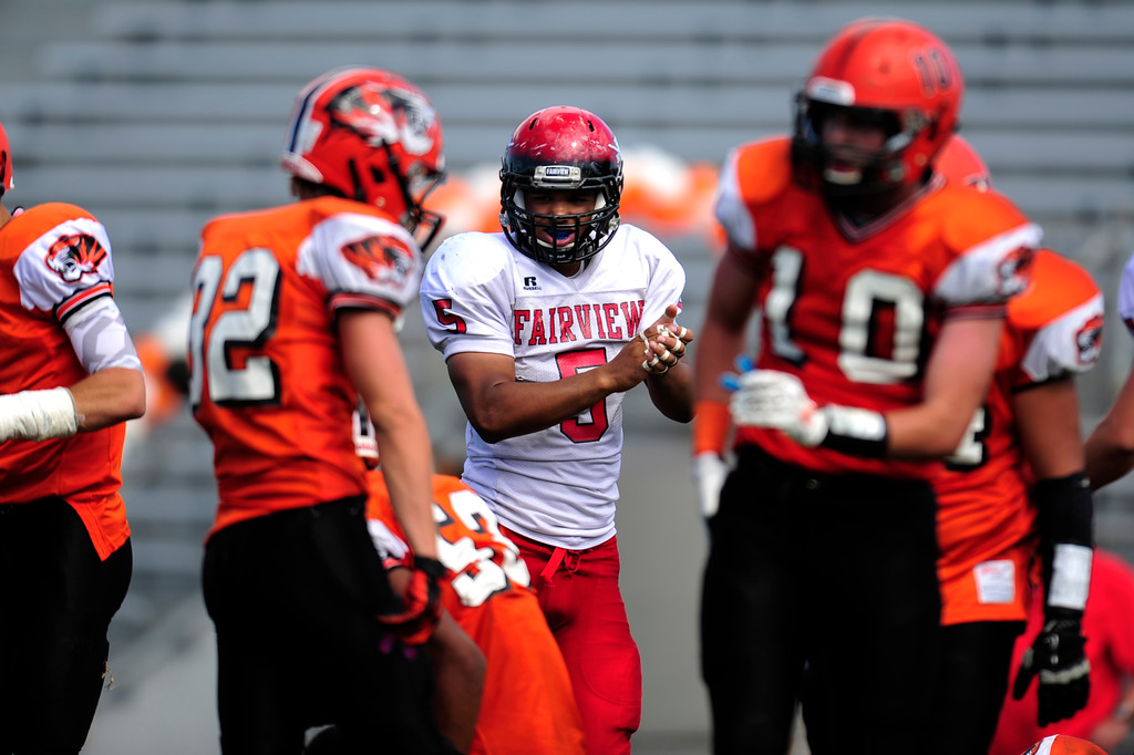 . Fairview player Carlo Kemp cheers after his team scored a touchdown.  (Photo By Erin Hull/The Denver Post)