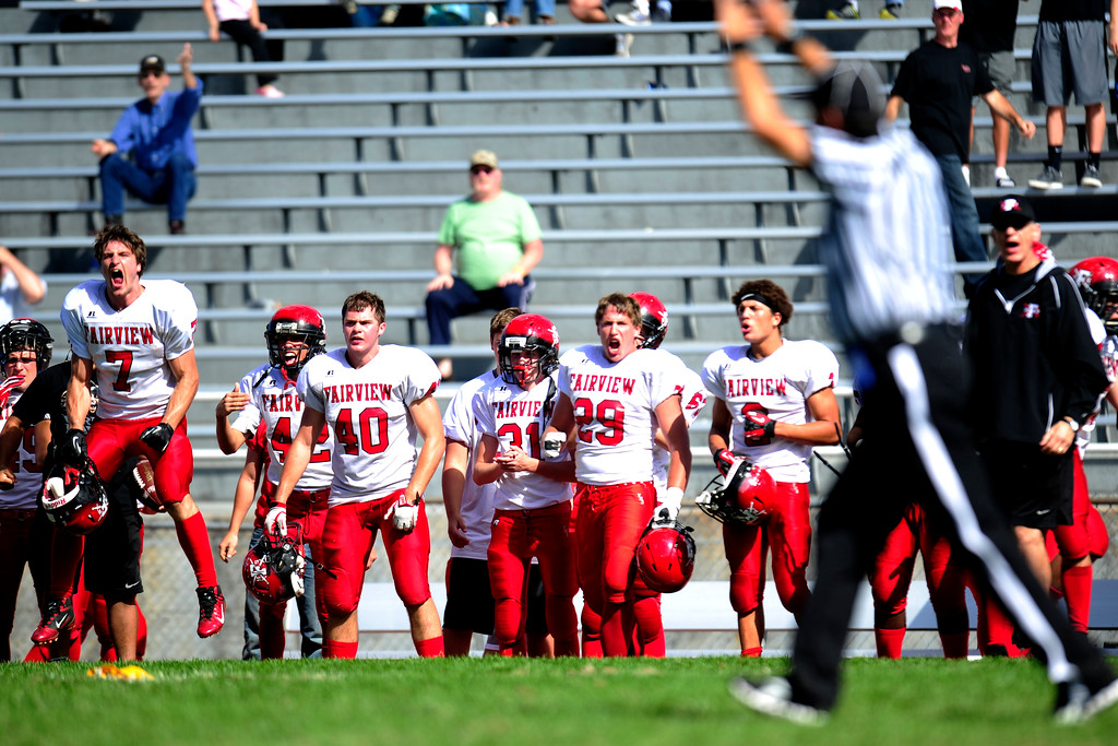 . Fairview players react to a call during the 4th quarter. The team was down by one with just minutes to go.  (Photo By Erin Hull/The Denver Post)