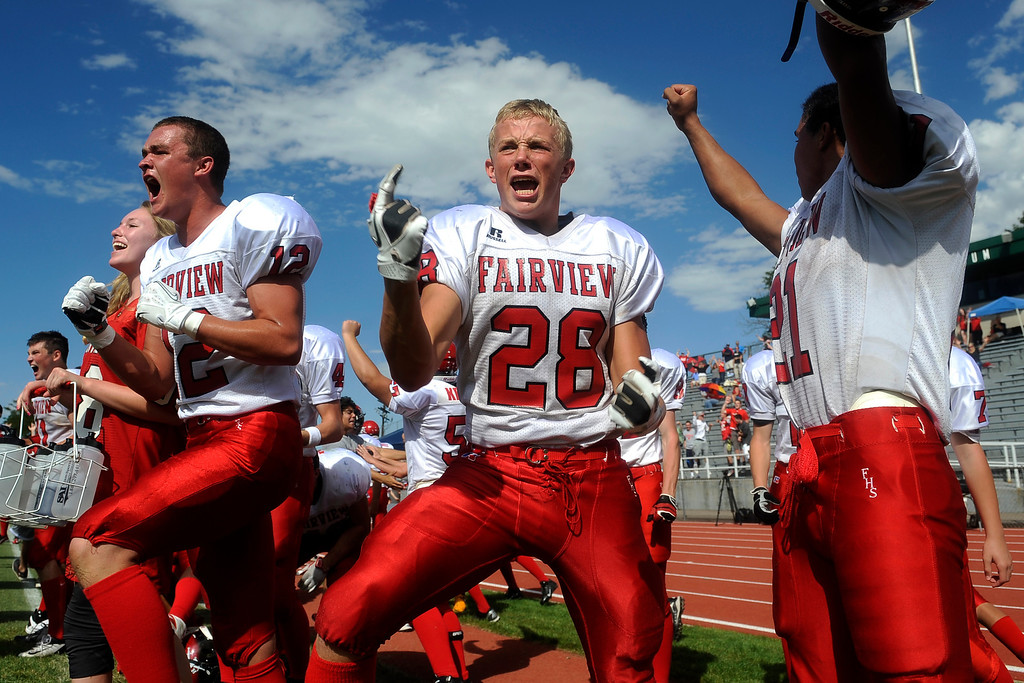 . Avery Cantrell of Fairview celebrates after his teammate, Jonathan Swartzwelter, kicked the field goal that put Fairview ahead 45-43 with mere seconds to go at the end of the game against Lakewood.  (Photo By Erin Hull/The Denver Post)