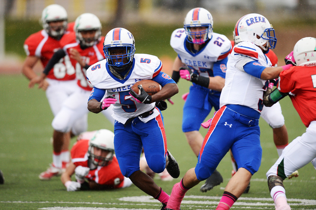 . RB Milo Hall of Cherry Creek High School rushes for the touchdown in the 1st quarter of the game against Smoky Hill High School at Stutler Bowl. Greenwood Village, Colorado. October 11, 2013. (Photo by Hyoung Chang/The Denver Post)