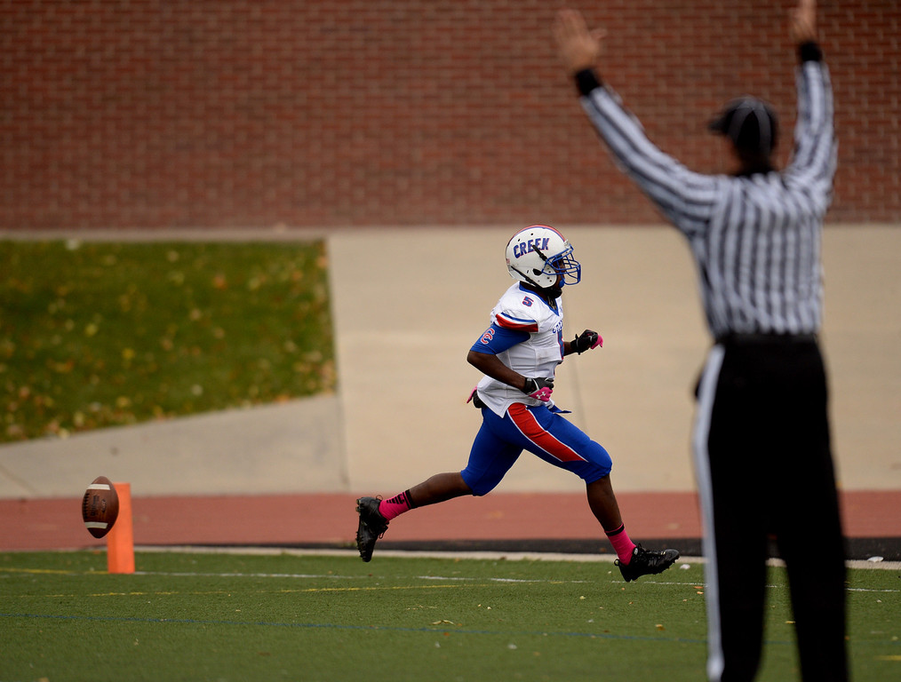 . RB Milo Hall of Cherry Creek High School scores 2nd  touchdown in the 2nd quarter of the game against Smoky Hill High School at Stutler Bowl. Greenwood Village, Colorado. October 11, 2013. Cherry Creek won 48-14. (Photo by Hyoung Chang/The Denver Post)