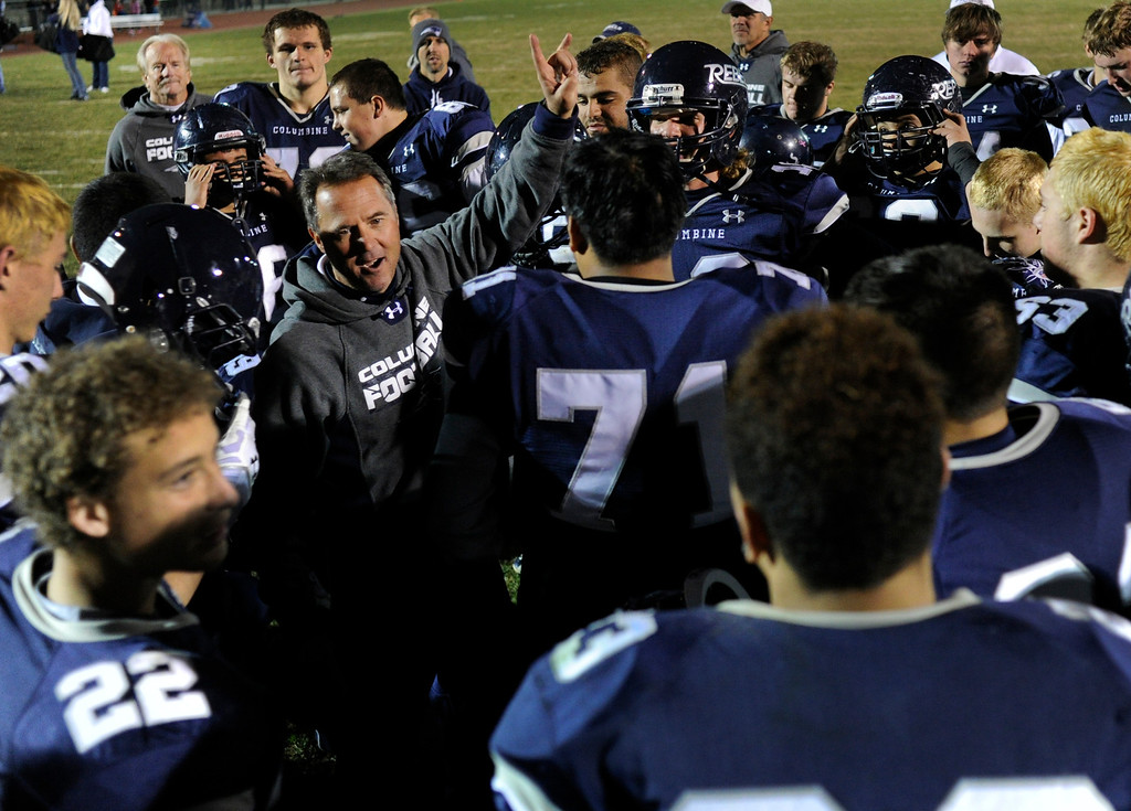 . LAKEWOOD, CO. - NOVEMBER 8: Columbine coach Andy Lowry and his Rebels squad rolled over Grand Junction 41-6 in a playoff game at Jefferson County Stadium Friday night, November 8, 2013. Photo By Karl Gehring/The Denver Post