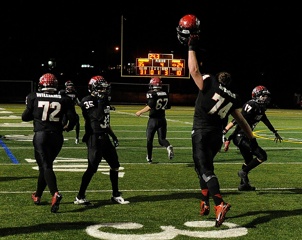 . BOULDER, CO. - NOVEMBER 15: The Fairview High School football team defeated Pomona 35-24 Friday night, November 15, 2013. Photo By Karl Gehring/The Denver Post