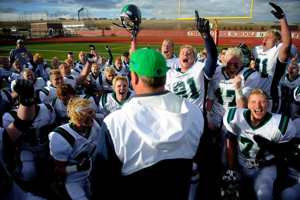 . AURORA CO: Nov. 16, 2013  ThunderRidge celebrates their 13 - 9 win over Grandview on Saturday, Nov. 16, 2013 at Legacy Stadium in Aurora, CO.   (Photo By Erin Hull/The Denver Post)