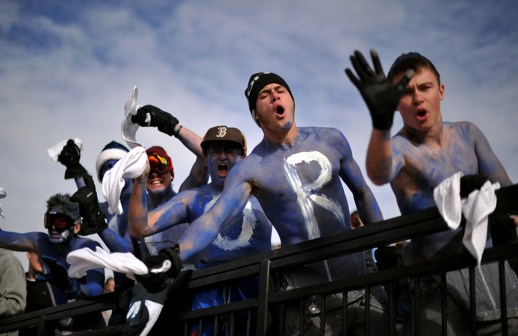 . AURORA CO. NOVEMBER 23 : Valor Christian High School students cheer the team during the 5A football semifinal game against Cherokee Trail High School at Legacy Stadium in Aurora, Colorado November 23, 2013. Valor Christian won 42-23. (Photo by Hyoung Chang/The Denver Post)