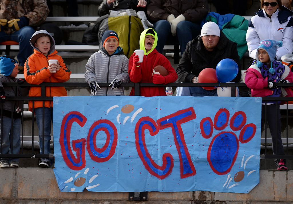 . AURORA CO. NOVEMBER 23 : Cherokee Trail High School fans cheer the team during the 5A football semifinal game against Valor Christian High School at Legacy Stadium in Aurora, Colorado November 23, 2013. Valor Christian won 42-23. (Photo by Hyoung Chang/The Denver Post)