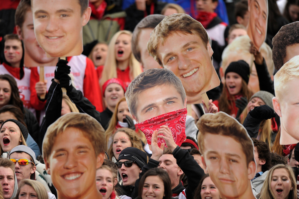 . HIGHLANDS RANCH, CO. - NOVEMBER 23: Fairview fans brought giant cutouts of the players to the game Saturday. The Fairview High School football team defeated ThunderRidge 38-28 at Shea Stadium in Highlands Ranch Saturday afternoon, November 23, 2013. The Knights will meet Valor Christian next week in the 5A title game. Photo By Karl Gehring/The Denver Post