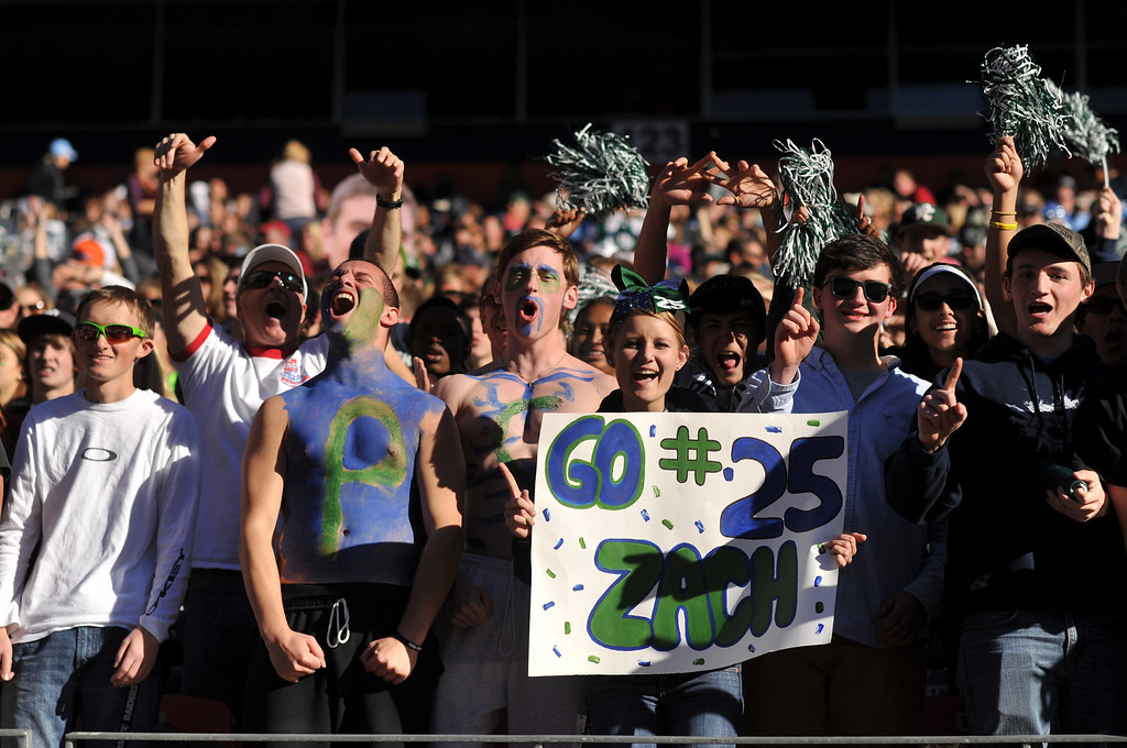. Pine Creek High School students cheer the team during 4A State Football Championship game against Montrose High School at Sports Authority Field. Denver, Colorado. November 30. 2013. Pine Creek won 49-14. (Photo by Hyoung Chang/The Denver Post)