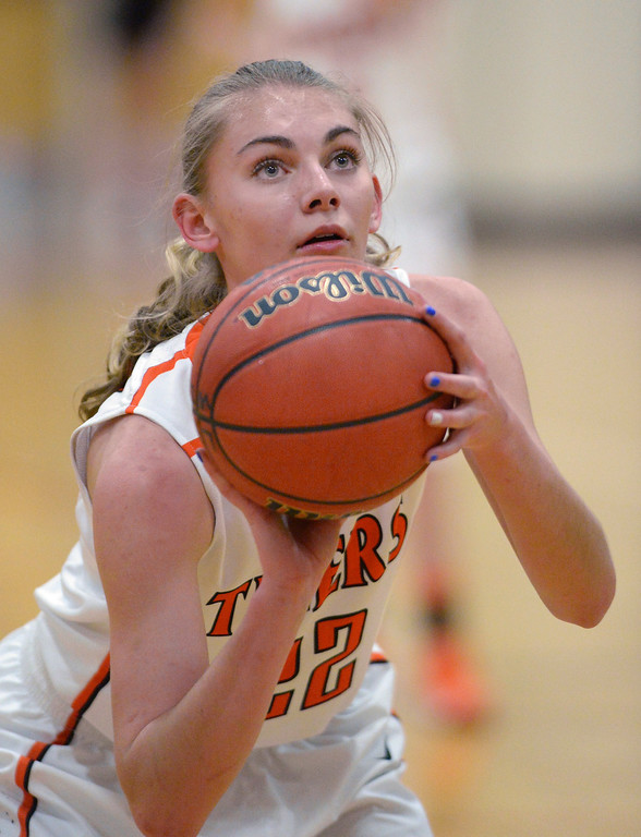 . Lakewood forward McKenna Bishop concentrated on a free throw in the first half.   Photo By Karl Gehring/The Denver Post