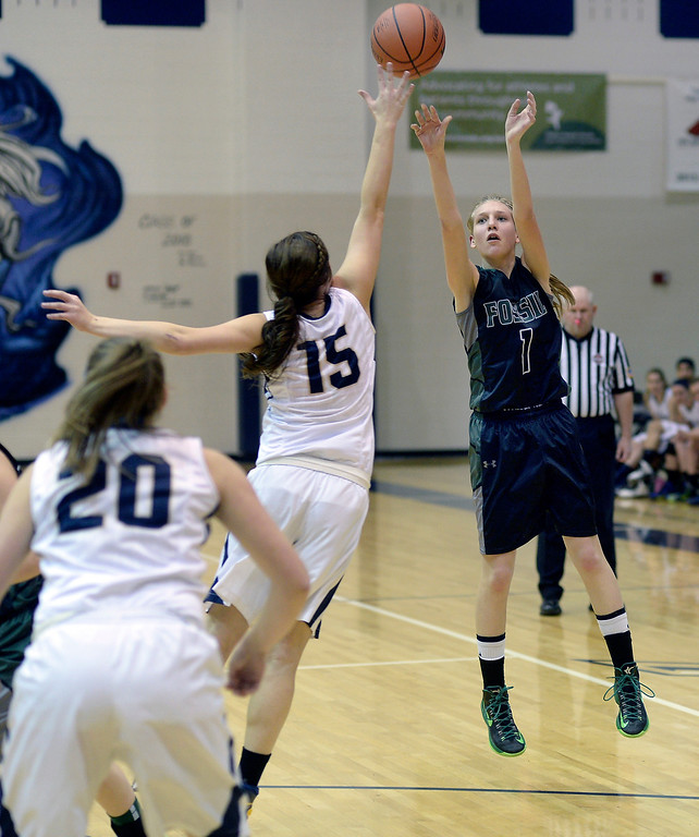 . WESTMINSTER, CO. - JANUARY 23:  Fossil Ridge guard Sami Steffeck (1) shot from beyond the three-point line in the second half. The Fossil Ridge High School girl\'s basketball team defeated Legacy 61-52 Thursday night, January 23, 2014. Photo By Karl Gehring/The Denver Post