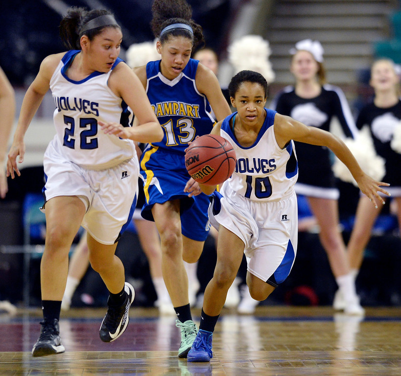 . Grandview guard Kennede Brown (10) started a fast break up court in the first half. The Grandview High School girl\'s basketball team took on Rampart in a 5A playoff game Thursday night, March 6, 2014 in Denver, Colorado. (Photo by Karl Gehring/The Denver Post)