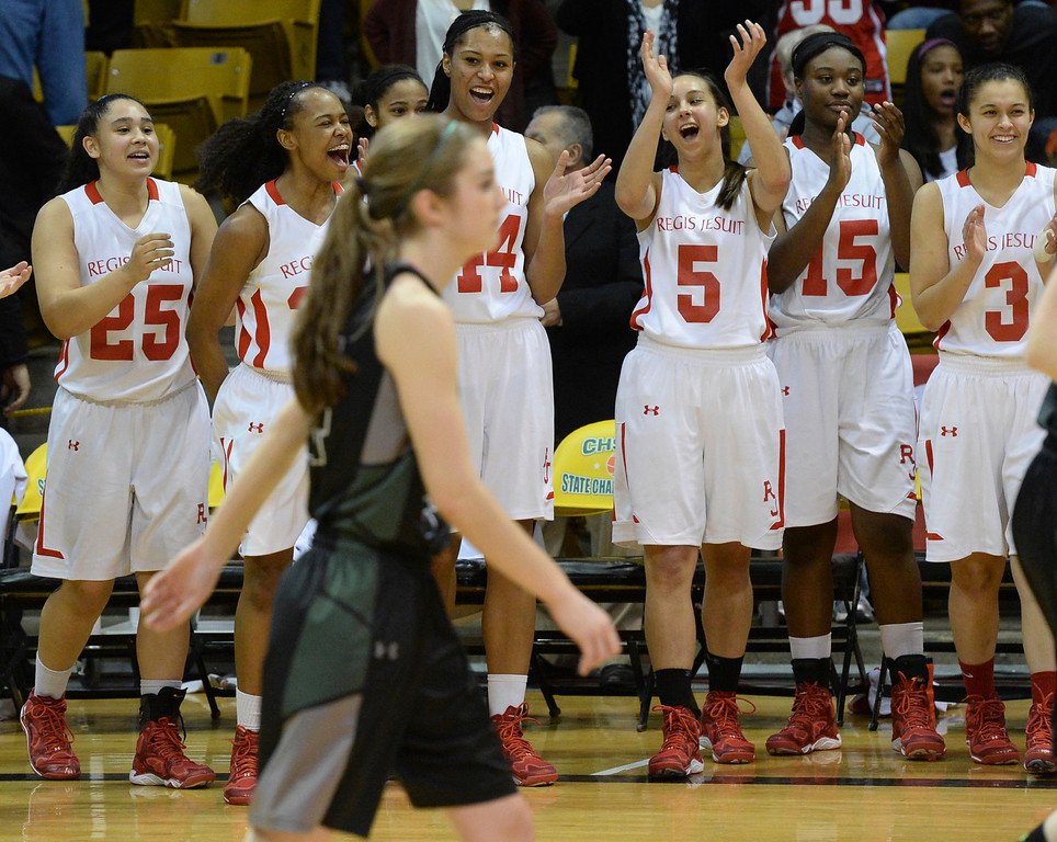 . BOULDER, CO - MARCH15: The Regis Jesuit High School girl\'s basketball team won the state 5A title with a decisive 60-34 win over Fossil Ridge in the championship game Saturday, March 15, 2014 in Boulder, Colorado. (Photo by Karl Gehring/The Denver Post)